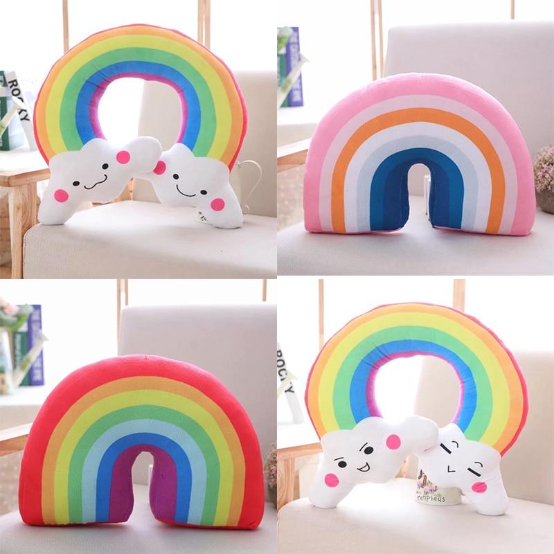 cartoon rainbow u shaped pillow head support colorful neck pillow kids car airplane traveling pillow nap pillow 4 kinds