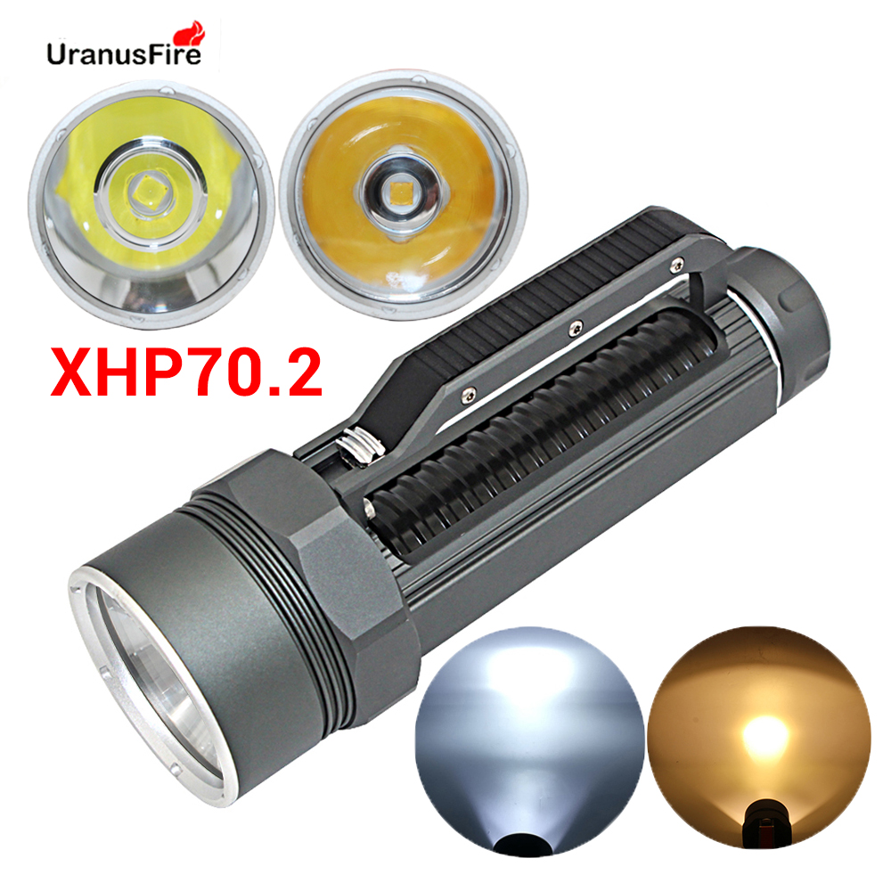 XHP70.2 Portable LED Diving Flashlight Underwater 100M Waterproof Tactical Torch 32650 26650 Spearfishing XHP70 Dive Lamp Light