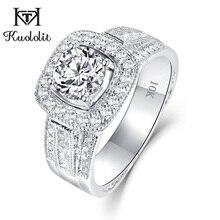 Женское кольцо с муасанитом kuolit, обручальное кольцо из белого золота 10 к с D цветным кристаллом VVS1, романтическое ювелирное изделие для свадьбы