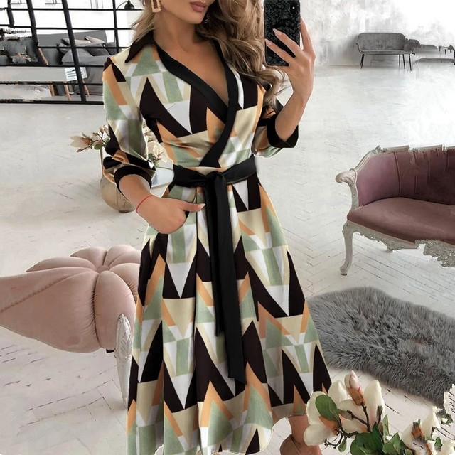 New Fashion Women Casual V Neck Long Dresses Chic Geo Pattern Graphic Print Pocket Design Wrap Dress 1