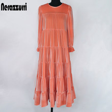 Nerazura vestido midi plissado de veludo, vestido feminino 3/4 manga bufante preto e branco, roupas compridas para mulheres, 2020 mulheres