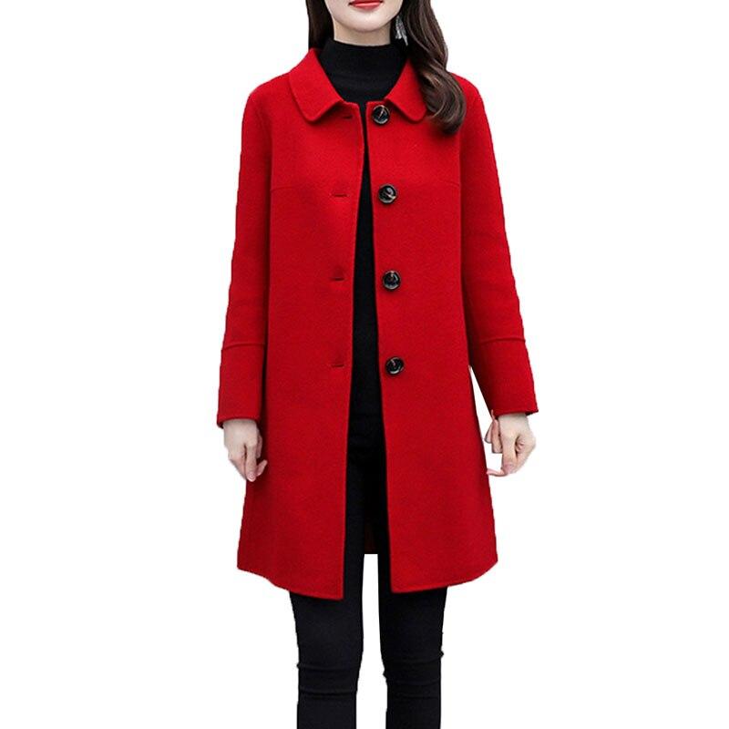 Red Women's Woolen Coat  2020 New Autumn Winter  Woolen Coat Mid-Long Single-breasted Blended Wool Female Jacket Outwear W230