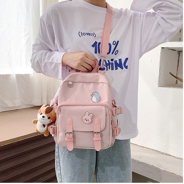 Korean Style Canvas Small Mini Backpack For Women Fashion Travel Backpack Leisure School Bag Tote For Tennage Girl Shoulder Bag 3