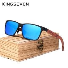 Kingseven óculos de sol unissex, óculos de sol retro, nova marca de designer, vintage, de alumínio e madeira, com madeira capa com estojo