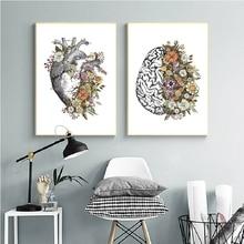 Cuadros de lienzo Vintage anatomía corazón cerebro Estilo nórdico pinturas de arte de pared impresiones del Hogar Moderno cartel Modular decoración de clínica
