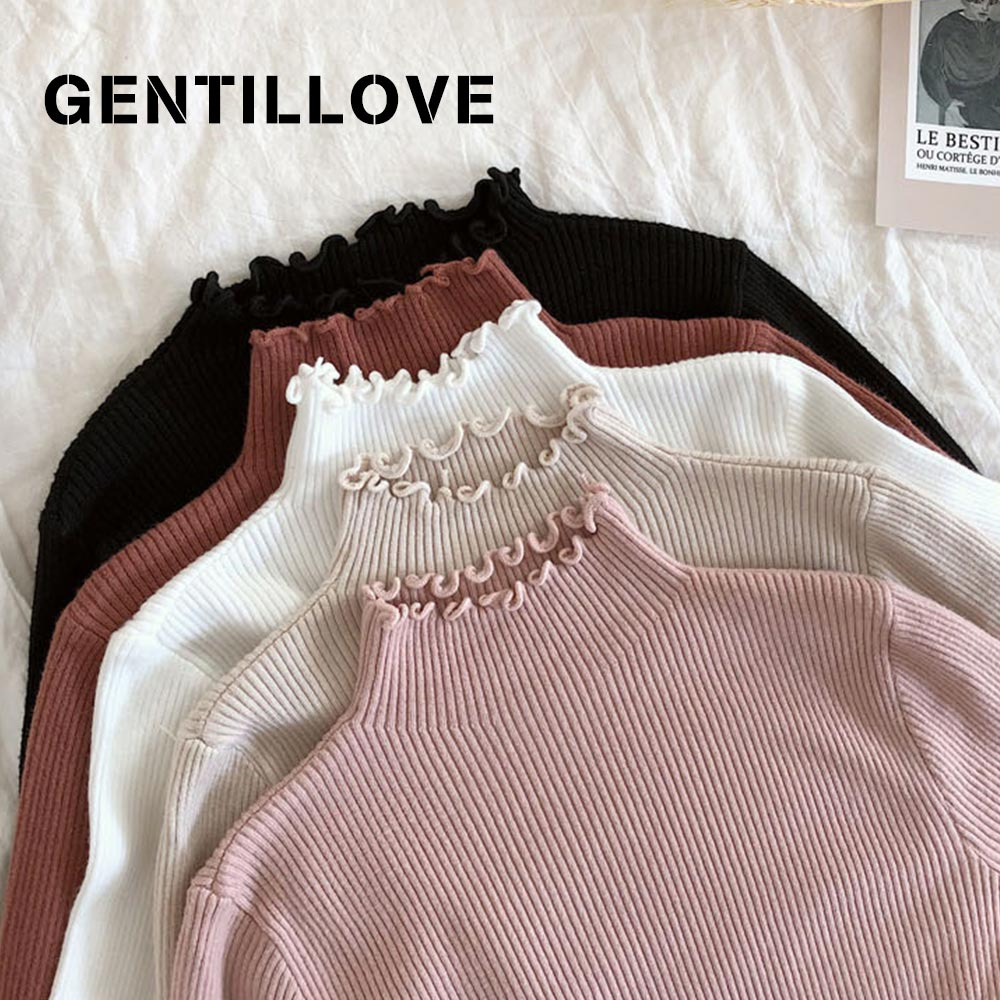 Gentillove Fall Winter Ruffles Sweater Turtleneck Ruched Women Sweater High Elastic Solid Women Slim Sexy Knitted Pullovers