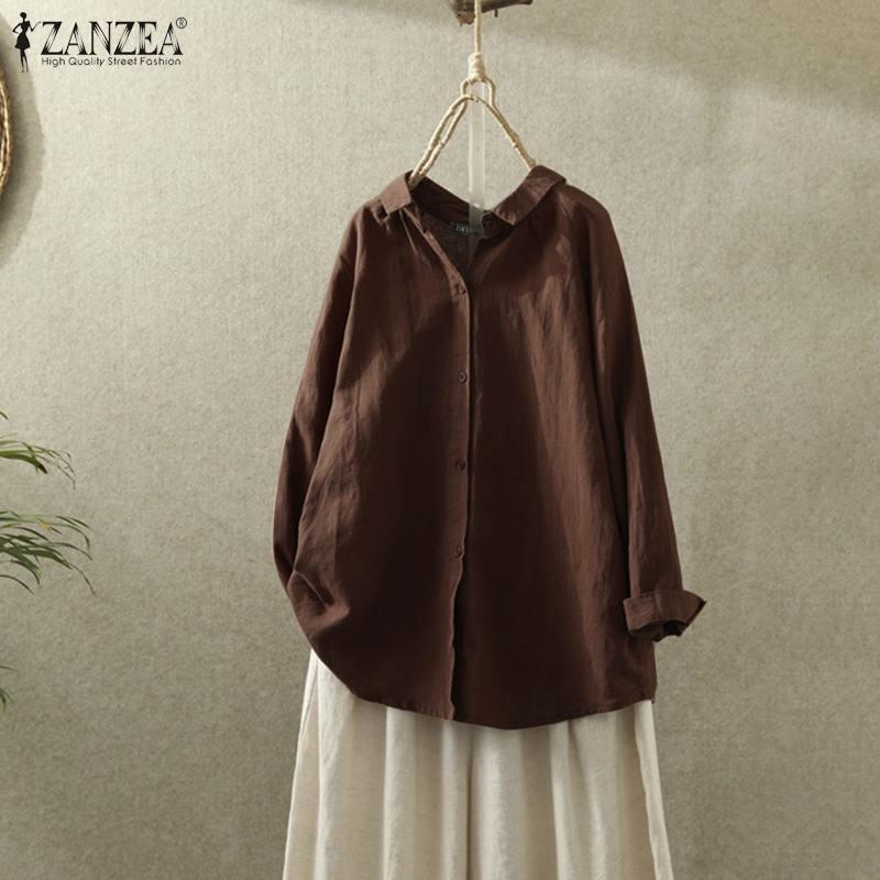 ZANZEA Women Vintage Blouse 2020 Spring Lapel Neck Long Sleeve Shirts Casual Buttons Down Blusas Loose Cotton Linen Tops Tunic