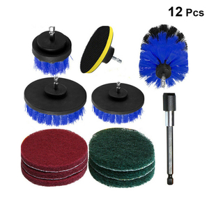 Image 1 - 12 stücke Elektrische Bohrer Reinigung Pinsel Reiniger Combo Tool Kit Power Für Teppich Glas Auto Reifen Nylon Pinsel Wäscher