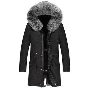 Image 2 - Gours hiver veste en cuir véritable hommes véritable peau de mouton en peau de mouton Long manteau avec col en fourrure de renard naturel doublure en laine chaude GSJF1895