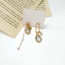 Trend of the creative personality asymmetric metal earrings contracted a street snap tide female women wear earrings a suit of sweet asymmetric bar cross earrings for women