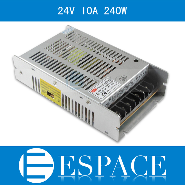 Best quality 24V 10A 240W Switching Power Supply Driver for LED Strip AC 100 240V Input to DC 24V free shipping