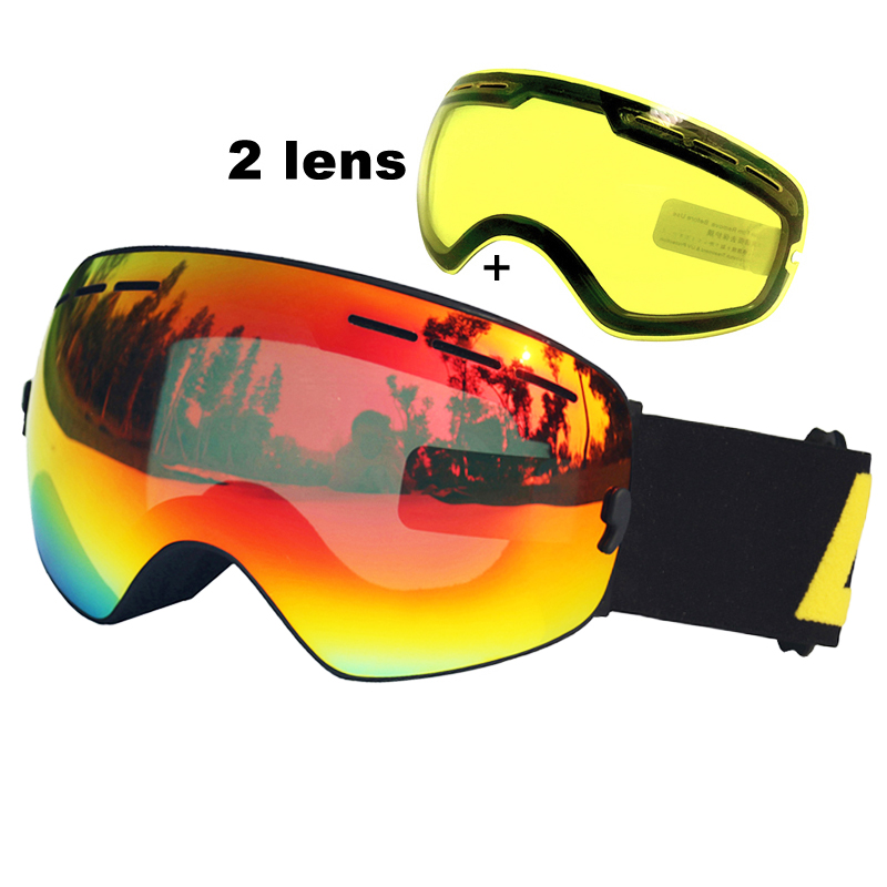 LOCLE Double Lens Ski Goggles Anti-fog UV400 Spherical Ski Glasses Skiing Snow Snowboard Goggles Ski Eyewear Brightening Lens