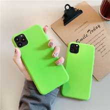 Silicone Green Plain Color Cover Mobile Phone Case For iPhon