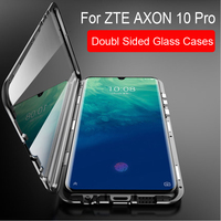 Magnetic Adsorption Case For ZTE AXON 10 Pro Metal Frame Doubl Sided Glass Cover For ZTE AXON 10 ProProtective Phone Case