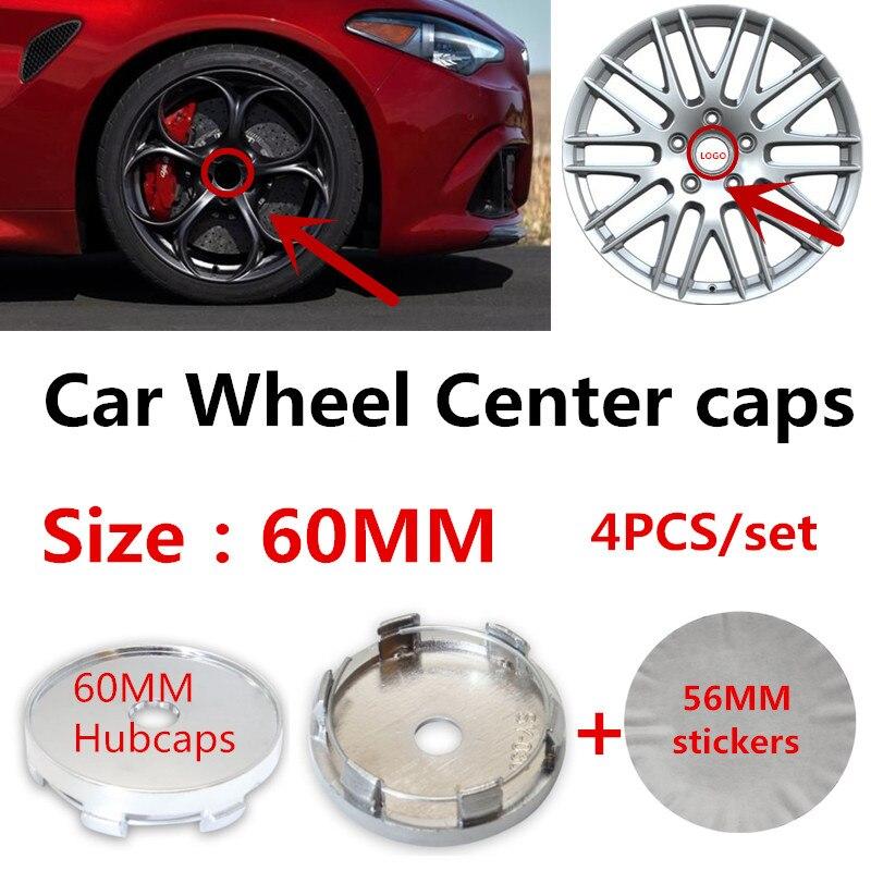 4pcs/lot 60mm  Auto Car Wheel Center Caps Hub Rim Center Covers  56mm Stickers Accessories