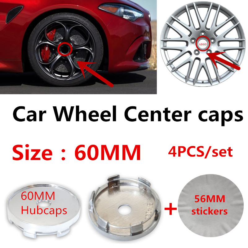 4pcs/lot 60mm Auto Car Wheel Center <font><b>caps</b></font> Hub Rim center Covers 56mm <font><b>stickers</b></font> Accessories image