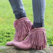 Ankle boots for women  fringe vintage low heels pointed toe womens chaussure botas mujer invierno w53