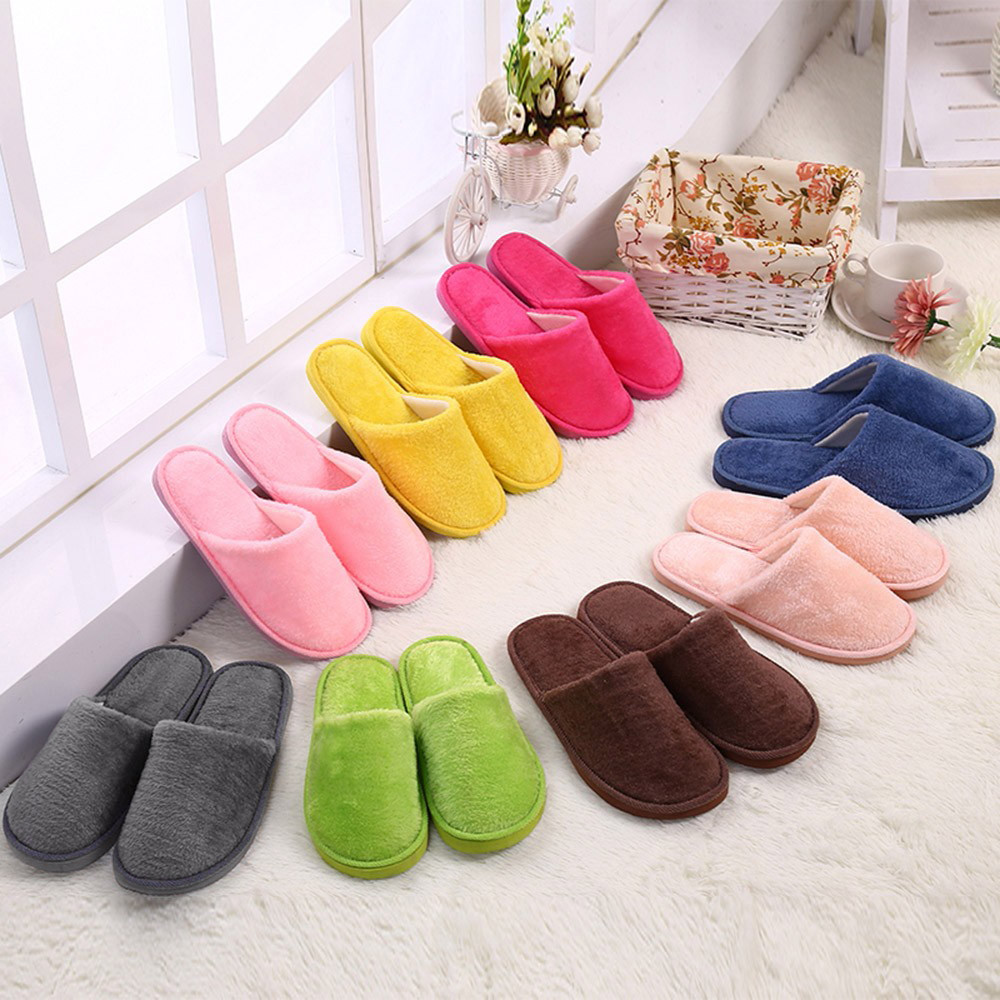 Unisex Adult Men Women Winter Home Indoor Slip On Round Toes Printed Slippers
