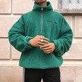 Männer Pullover Rollkragen Zipper Reine-Farbe Sanitär Kleidung Fleece Pullover Bluse S-4XL Plus Größe Herbst Winter pull homme