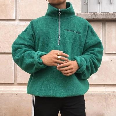 Men's Sweater Turtleneck Zipper Pure-Colour Sanitary Clothes Fleece Pullover Blouse S-4XL Plus Size Autumn Winter Pull Homme