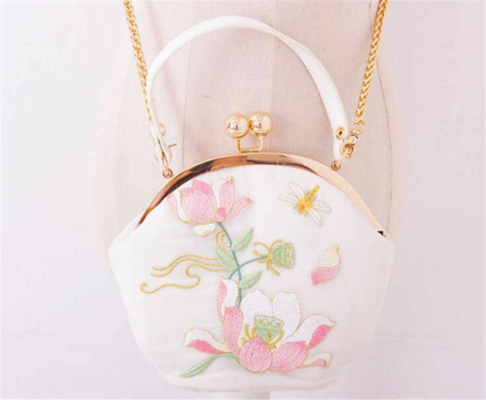 Lolita mädchen Lotus Floral pu neue Stickerei Cheongsam Gold Kette Metall Rahmen Hanfu Umhängetasche Hand Taschen B1168