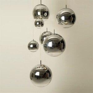 Image 1 - Vidro moderno led pingente lâmpada barra escadas (um a três luzes) restaurante led luzes pingente sala de estar lâmpada chapeamento esférico