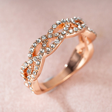 2020 New Twist Rope Hemp Cubic Wedding Rings For Women Rose Gold Micro Zirconia Tail