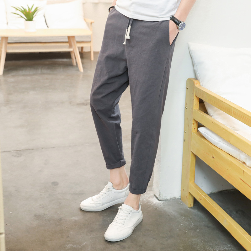 [Special Offer Men Capri Pants Pure Cotton Teenager Korean-style Fashion Casual Skinny Pants Flax Athletic Pants