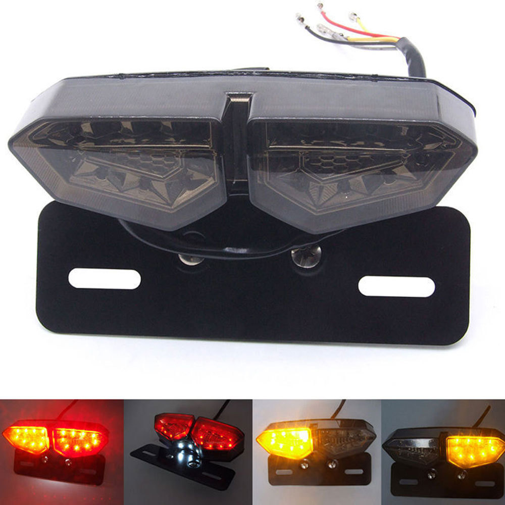 Motorcycle LED Taillight 12V Turn Signal Rear Brake Lights Motorbike License Plate Light Flasher For Honda Kawasaki Harley