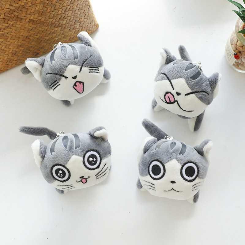 חמוד חתול בפלאש ממולא בובות צעצועי קריקטורה אנימה מתוק חתולים חיות פרווה Keychain מפתח טבעת שרשרת קטיפה צעצועים לילדים 9CM