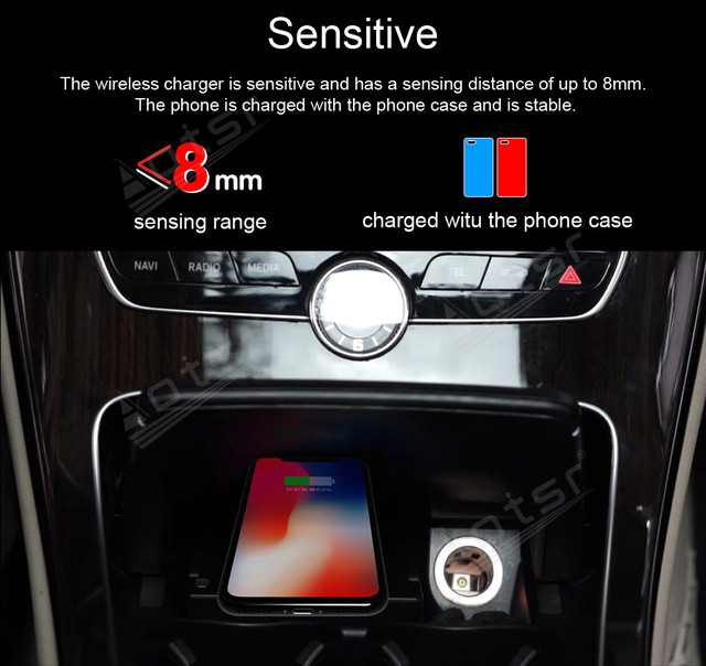 QI Wireless Charge Special On-board Charge Phone Charge Panel Android For Mercedes Benz C ser GLC 15-19 Pad Non-slip Accessories 2