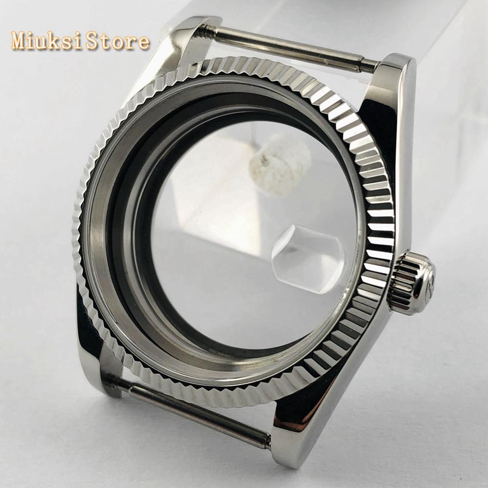 Parnis 36mm Sapphire Glass Silver Stainless Steel Watch Case Fit ETA 2836  Mingzhu DG2813 3804,miyota 8215 821A 8205 Movement