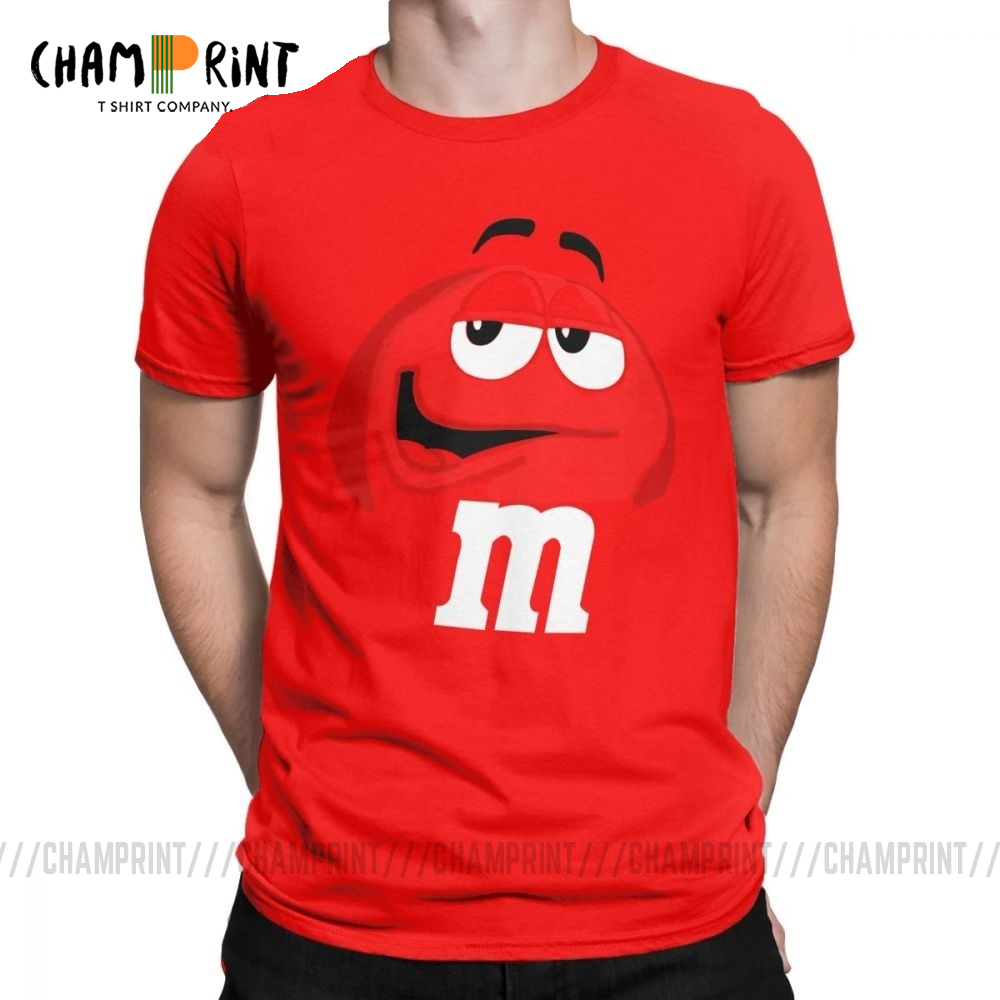 M&M's Chocolate Candy Character Face Tees Short New Fashion T Shirt Men's Pure Cotton Amazing T-Shirt Sleeve Tops Plus Size