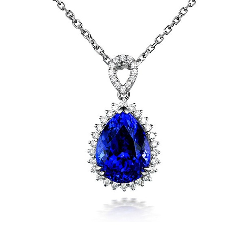 Natural Luxury Blue Sapphire Gemstone Pendant Necklace For Women