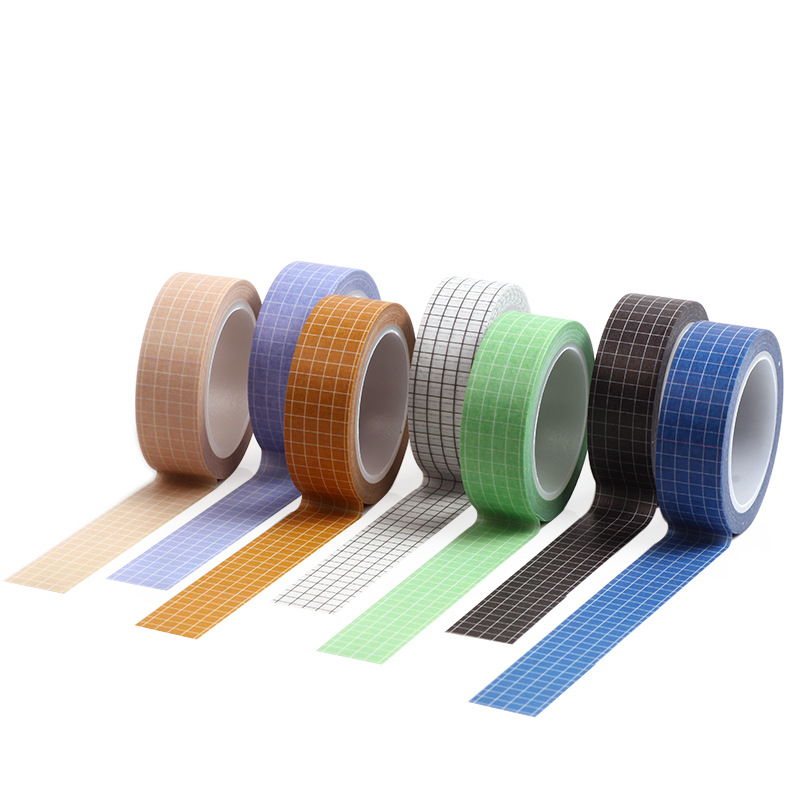 7pcs Vintage Pure Color Grid Pattern Washi Tape Blue Purple 15mm Adhesive Masking Tapes Decoration Stickers Scrapbooking A6939