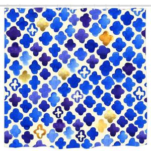 Rustic Watercolor Moroccan in Royal Blue & Gold Shower Curtain, Details Artistic Picture, Cloth Fabric Bathroom Decor Set with