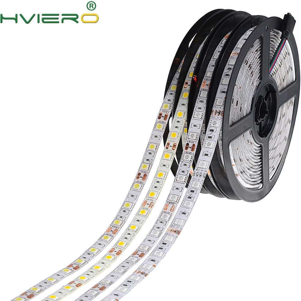 5m 300 LEDs 5050 SMD DC 12V Waterproof IP65 IP20 Flexible LED Light 60leds/m White RGB Party flexible light Led Strip
