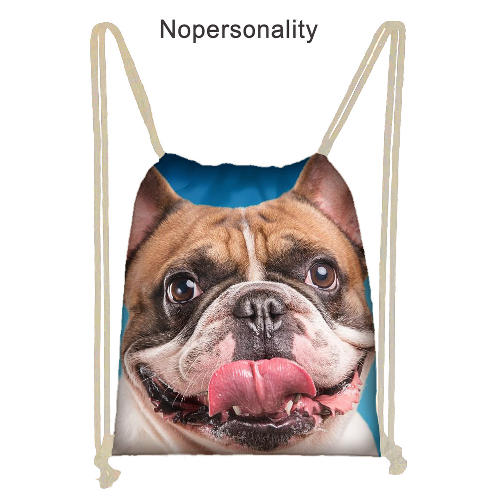Nopersonality Printing French Bulldog Drawstring Bag For Women String Casual Backpack Student Cinch Sack Back Pack
