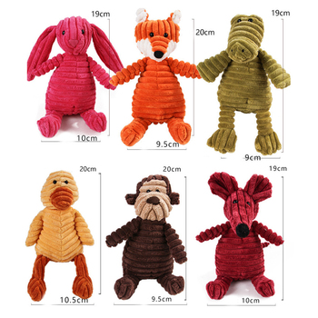 Corduroy Dog Toys for Small Large Dogs Animal Shape Plush Pet Puppy Squeaky Chew Bite Resistant Toy Pets Accessories Supplies 5