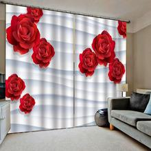 Customized 3D Blackout Curtains Living Room Bedroom Hotel Window curtains red rose for wedding room