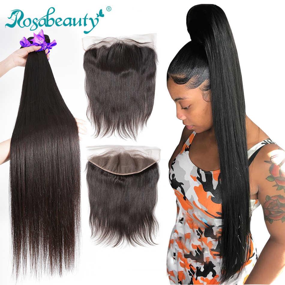 Rosabeauty düz 28 30 40 inç 3 4 demetleri ile dantel Frontal ucuz Remy brezilyalı 100% insan saçı örgüsü ve ön