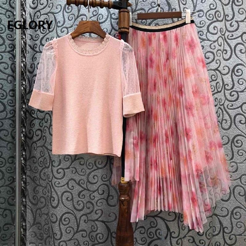 2020 printemps mode pull ensembles femmes Sexy Tulle maille Patchwork tricoté pulls + doux imprimé fleuri rose longue jupe ensembles 2 pc