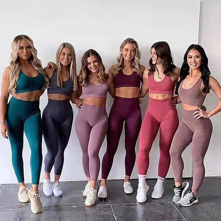 Naadloze Yoga Set Vrouwen Fitness Kleding Sportkleding Vrouw Gym Leggings Padded Push-Up Gladiatorschoen Sport Bh Set Sport Past