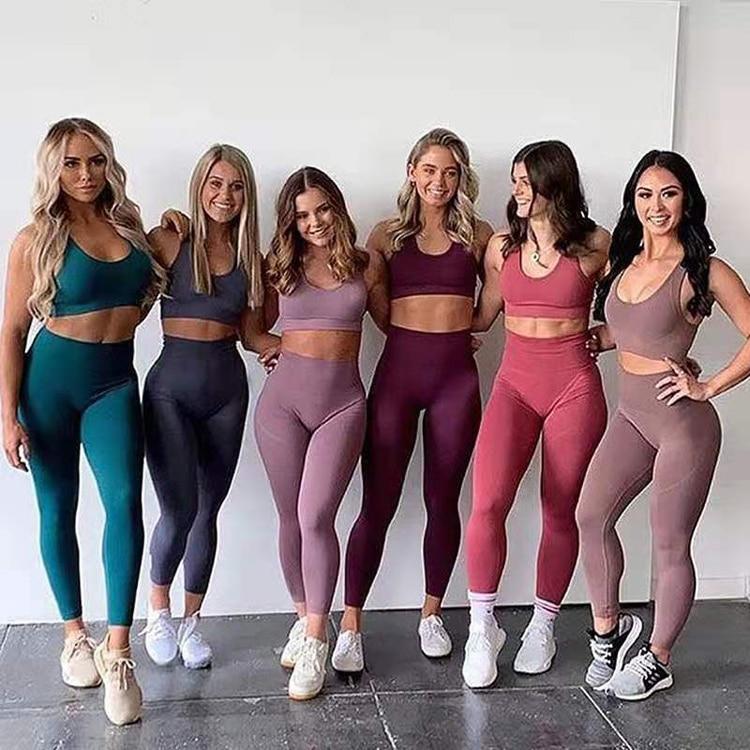 Seamless Yoga Set Women Fitness Clothing Sportswear Woman Gym Leggings Padded Push-up Strappy Sports Bra Set Sports Suits