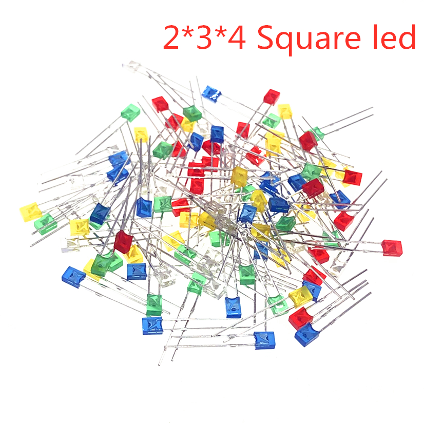 100pcs Red Light-emitting Diodes Red Turn Red White Blue Green Yellow 2*3*4 Square Led
