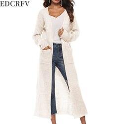 Casaco fino irregular da camisola de malha da cor sólida do lado longo maxi do cardigan dianteiro aberto da luva longa das mulheres com bolsos grandes