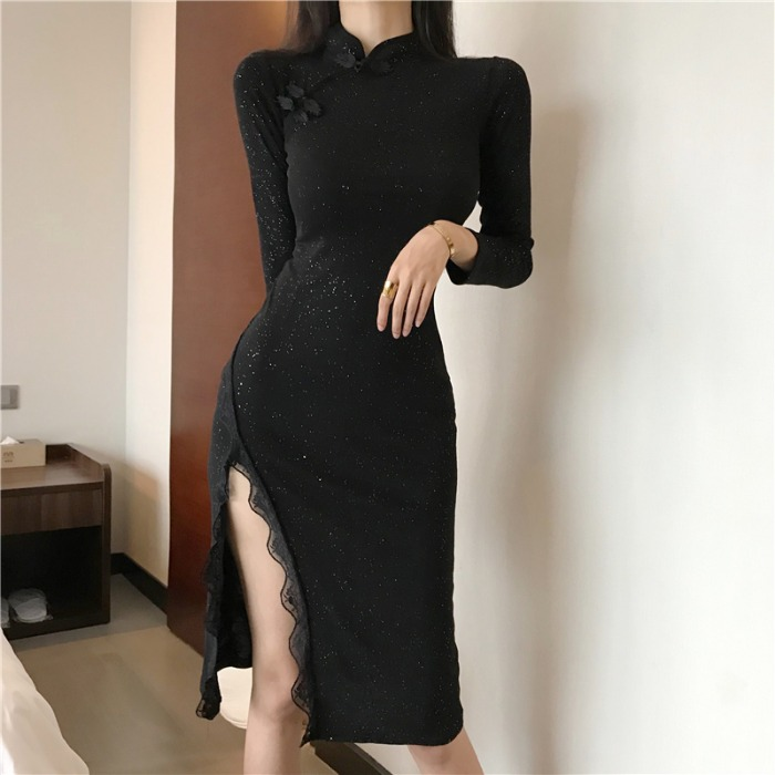 2020 Chinese Dress Long Sleeve Sexy Qipao Dress High Split Women Chinese Style Mandarin Collar Bodycon Dress Nightclub Cheongsam