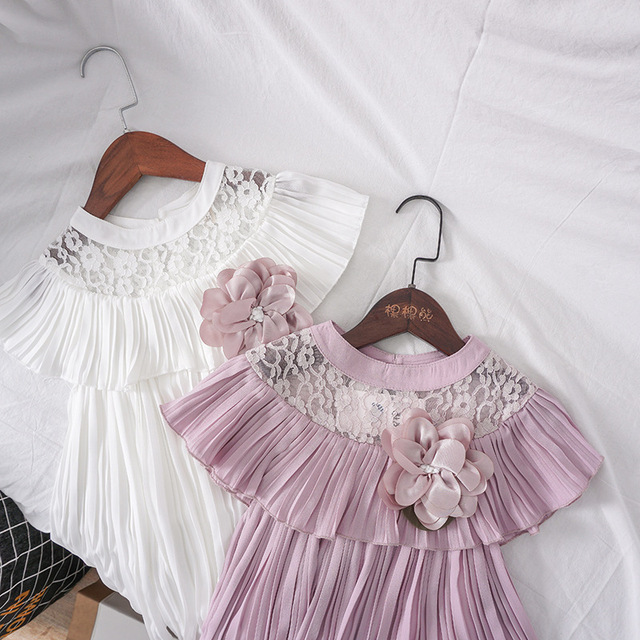 Summer Girl Dress with Brooch Princess Wedding Party Little Girl Ceremonies Flower Lace Tutu Solid Dress Lace Clothes