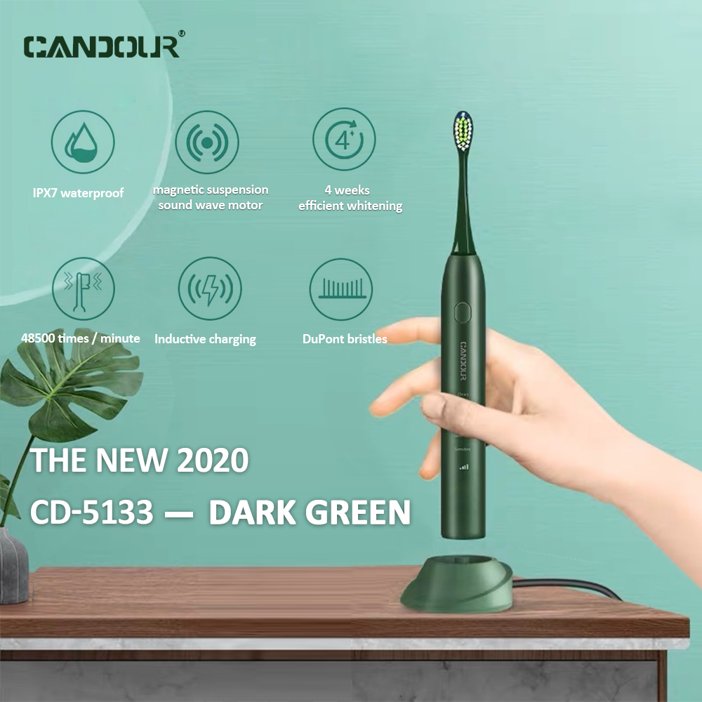 CANDOUR Sonic Electric Toothbrush Rechargeable Top Quality Smart Chip Toothbrush Head Replaceable Whitening Healthy Best Gift