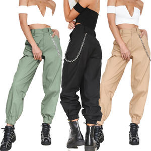 Litthing Cargo Trousers Pants Streetwear-Pants Punk Sports Women's Chain Loose Long Solid